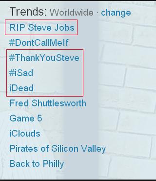 twitter trending topics com a morte de steve jobs
