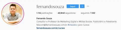 Exemplo de biografia do Fernando Souza no Instagram