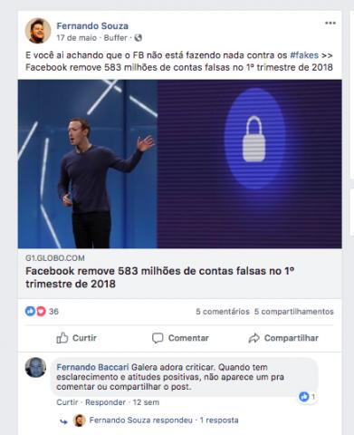 Exemplo de comentário no Facebook